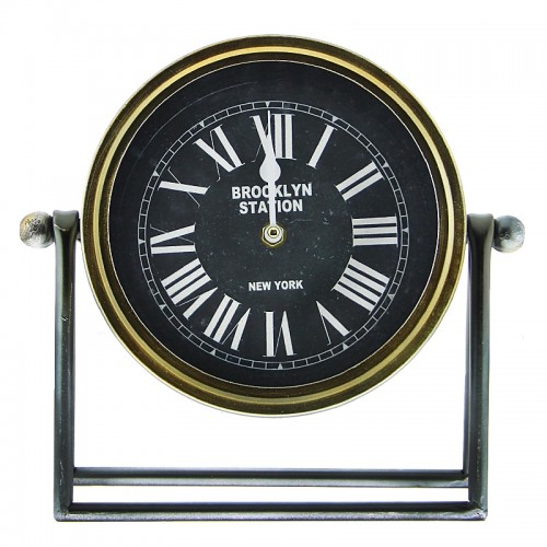Μεταλλικό Επιτραπέζιο Διακοσμητικό Ρολόι Brooklyn New York (Μαύρο - Χρυσό)