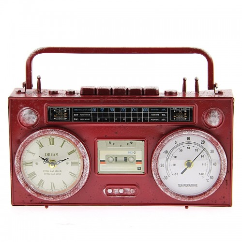 Μεταλλικό Διακοσμητικό Ρολόι Σε Σχήμα Κασετόφωνο (Κόκκινο)