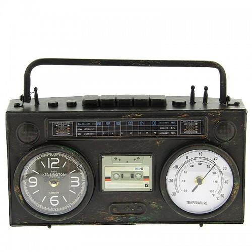 Μεταλλικό Διακοσμητικό Ρολόι Σε Σχήμα Κασετόφωνο (Μαύρο)