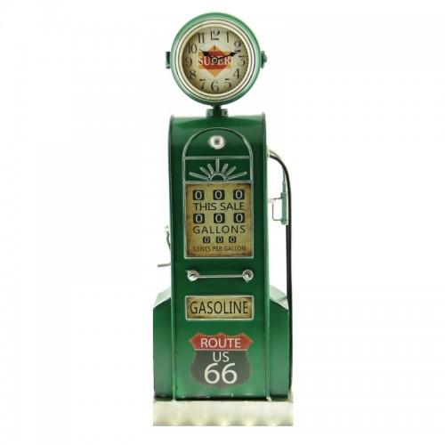 Μεταλλικό Ρολόι σε Σχήμα Αντλία Βενζίνης με αποθηκευτικό χώρο (Πράσινο)