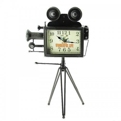 Επιτραπέζιο Ρολόι Κινηματογραφική Κάμερα (Μαύρο)