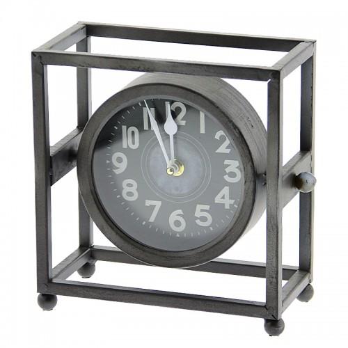 Επιτραπέζιο Μεταλλικό Ρολόι σε Τετράγωνο Πλαίσιο (Γκρι)