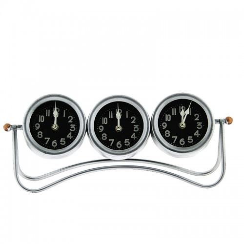 Επιτραπέζιο Τριπλό Μεταλλικό Ρολόι (Ασημί)