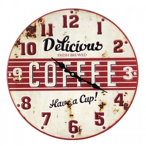Μεταλλικό Ρολόι Τοίχου Delicious Coffee (Άσπρο)