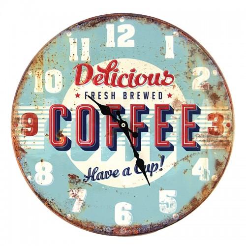 Μεταλλικό Ρολόι Τοίχου Delicious Coffee (Γαλάζιο)