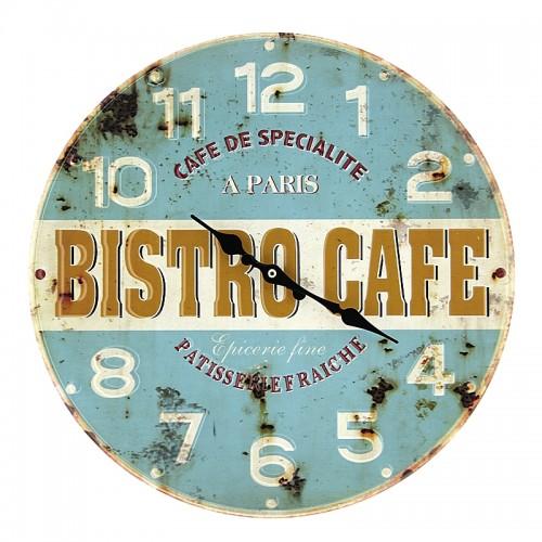 Μεταλλικό Ρολόι Τοίχου Bistro Cafe (Γαλάζιο)