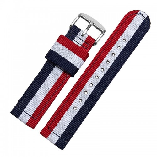 Ανταλλακτικό Λουράκι OEM Υφασμάτινο με Nato Strap για Samsung Gear S3 20mm (Κόκκινο - Μπλε)