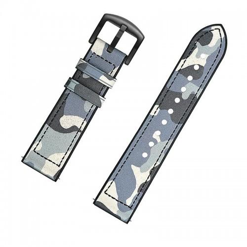 Ανταλλακτικό Λουράκι OEM Δερμάτινο Παραλλαγής με Nato Strap για Samsung Gear S3 22mm (Γαλάζιο)