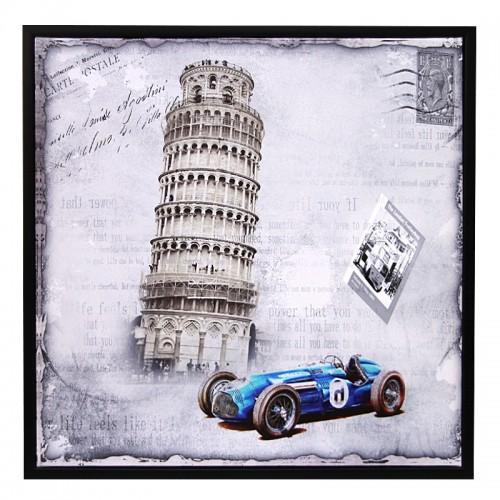 Διακοσμητικό Κάδρο 59x59 Tower of Pisa & Blue Car (Design)