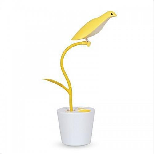 Φωτιστικό Μολυβοθήκη σε Σχήμα Γλάστρα με Πουλί (Κίτρινο)