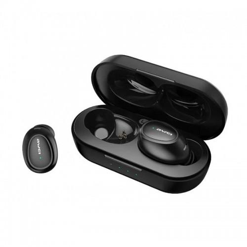 Ασύρματα Bluetooth Ακουστικά με Βάση Φόρτισης Awei T6C (Μαύρο)