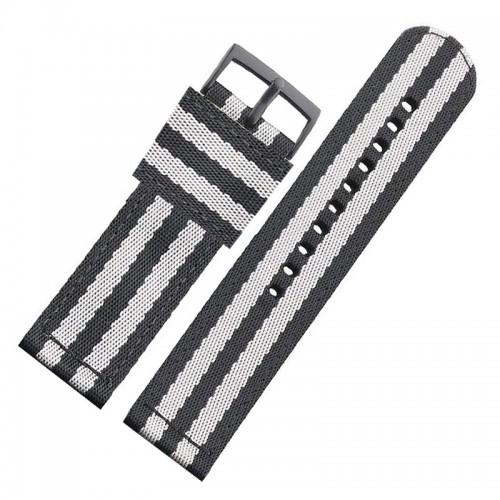 Ανταλλακτικό Λουράκι OEM Υφασμάτινο με Nato Strap για Samsung Gear S3 22mm (Μαύρο-Γκρι)