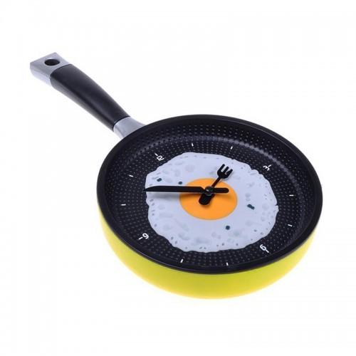 Ρολόι σε Σχήμα Τηγάνι με Αυγό (Κίτρινο)