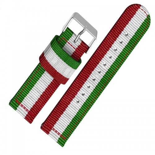 Ανταλλακτικό Λουράκι OEM Υφασμάτινο με Nato Strap για Samsung Gear S3 20mm (Πράσινο-Κόκκινο)