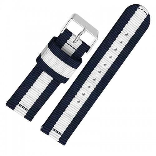 Ανταλλακτικό Λουράκι OEM Υφασμάτινο με Nato Strap για Samsung Gear S3 22mm (Άσπρο-Μπλε)