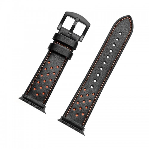 Ανταλλακτικό Λουράκι OEM Δερμάτινο με Nato Strap για Apple Watch 42/44 mm (Μαύρο-Πορτοκαλί)