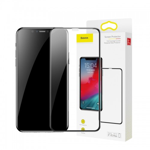 Baseus Full Cover 3D Curved Tempered Glass για iPhone XS Max (Μαύρο)