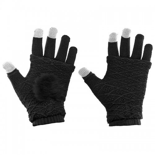 Γάντια για Οθόνες Αφής 2 in 1 (Μαύρο)