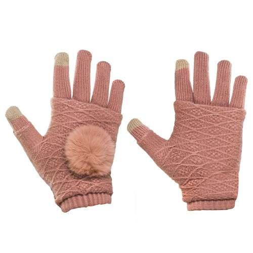 Γάντια για Οθόνες Αφής 2 in 1 (Ροζ)