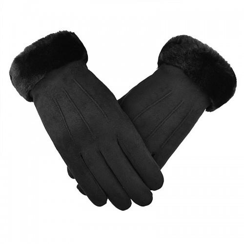 Γάντια για Οθόνες Αφής με Γουνάκι (Μαύρο)