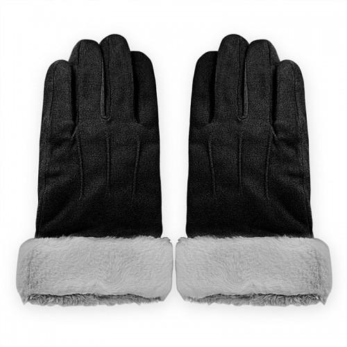 Γάντια για Οθόνες Αφής με Γουνάκι (Μαύρο-Γκρι)