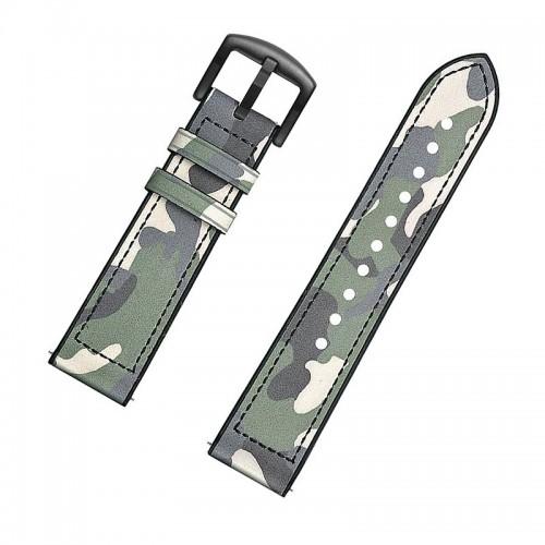 Ανταλλακτικό Λουράκι OEM Δερμάτινο Παραλλαγής με Nato Strap για Samsung Gear S3 22mm (Πράσινο)