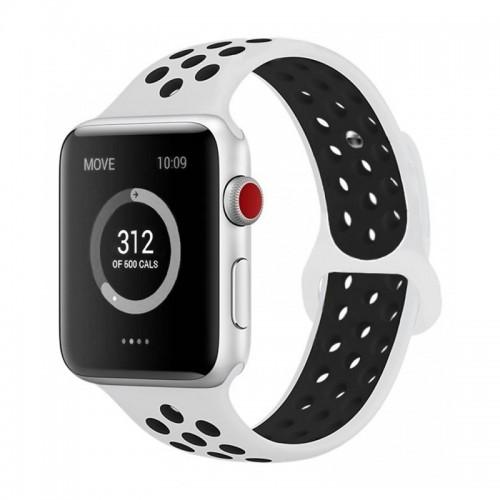Ανταλλακτικό Λουράκι OEM Softband για Apple Watch 42/44mm (Ασπρο-Μαυρο)