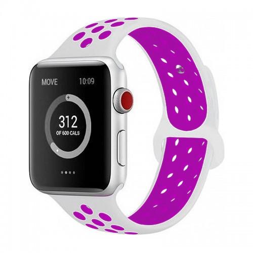 Ανταλλακτικό Λουράκι OEM Softband για Apple Watch 38/40mm (Άσπρο-Μωβ)