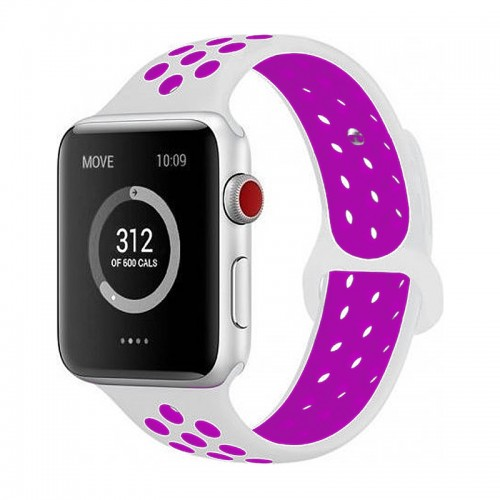 Ανταλλακτικό Λουράκι OEM Softband για Apple Watch 42/44mm (Άσπρο-Μωβ)