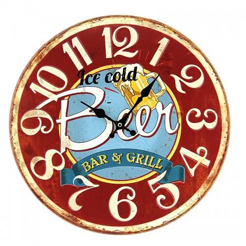Μεταλλικό Ρολόι Τοίχου Ice Cold Beer (Κόκκινο)