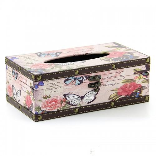 Ξύλινο Κουτί για Χαρτομάντηλα Butterflies and Roses (Design)