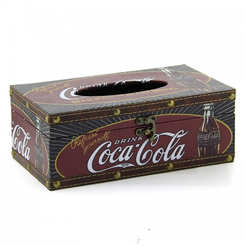 Ξύλινο Κουτί για Χαρτομάντηλα Drink Coca Cola (Design)