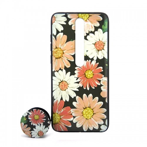 Θήκη με Popsocket Colorful Flowers Back Cover για Xiaomi Redmi 8 (Design)