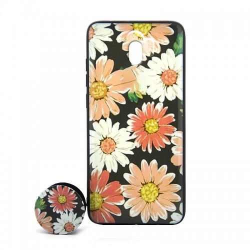 Θήκη με Popsocket Colorful Flowers Back Cover για Xiaomi Redmi 8A (Design)