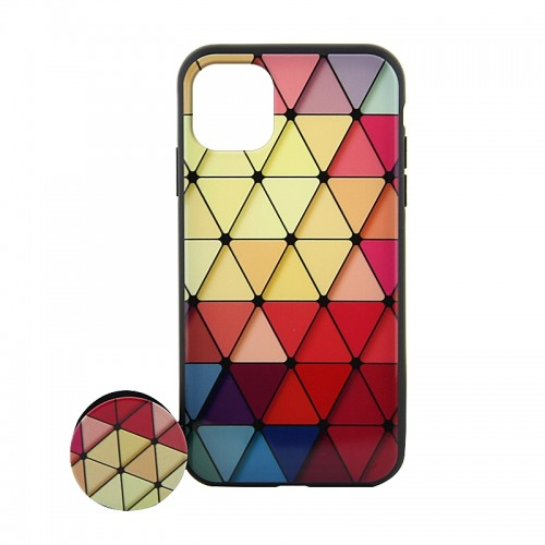 Θήκη με Popsocket Colorful Triangles Back Cover για iPhone 11 (Design)