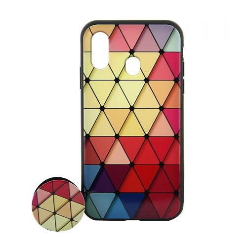 Θήκη με Popsocket Colorful Triangles Back Cover για Samsung Galaxy A20e (Design)