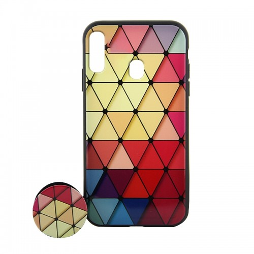 Θήκη με Popsocket Colorful Triangles Back Cover για Samsung Galaxy M20 (Design)