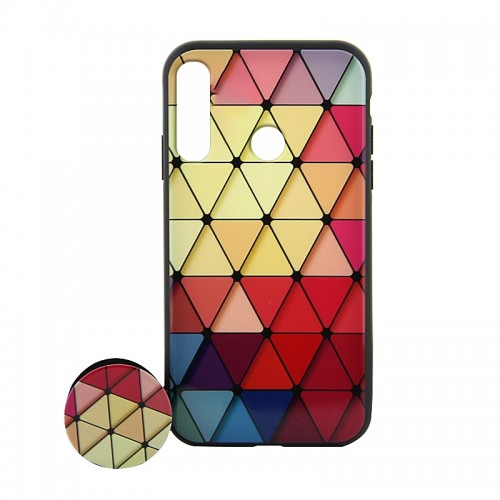 Θήκη με Popsocket Colorful Triangles Back Cover για Huawei P30 Lite (Design)
