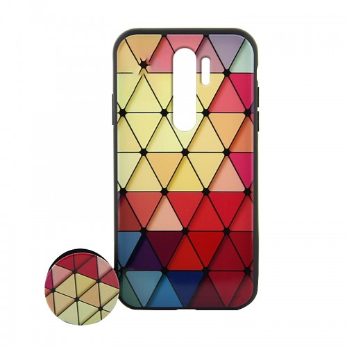 Θήκη με Popsocket Colorful Triangles Back Cover για Xiaomi Redmi Note 8 Pro (Design)