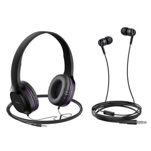 Σετ ακουστικών Hoco W24(Headphones και Earphones) (Μαύρο-Μωβ)