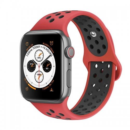 Ανταλλακτικό Λουράκι OEM Softband για Apple Watch 38/40mm (Κόκκινο - Μαύρο)