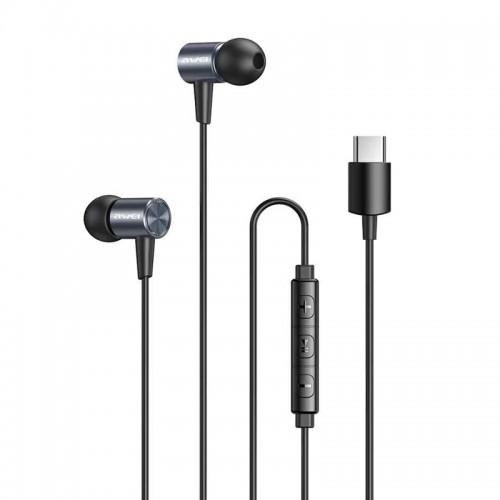 Handsfree Ακουστικά Awei TC-2 για Type-C (Γκρι)