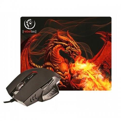 Ενσύρματο ποντίκι Rebeltec Red Dragon + Mouse Pad (Μαύρο)