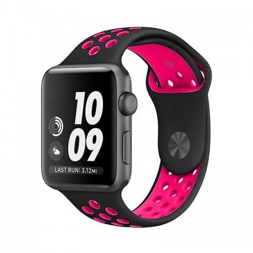Ανταλλακτικό Λουράκι OEM Softband για Apple Watch 42/44mm (Μαύρο-Φουξ)