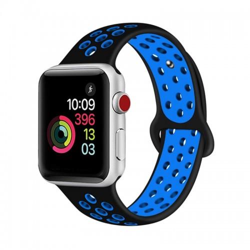 Ανταλλακτικό Λουράκι OEM Softband για Apple Watch 38/40mm (Μαύρο-Μπλε)