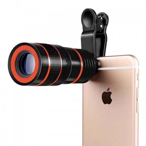 Τηλεσκοπικός Φακός Κάμερας Κινητού με Clip (Μαύρο)