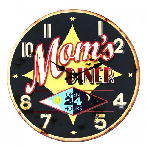 Μεταλλικό Ρολόι Τοίχου Mom's Diner (Μαύρο)