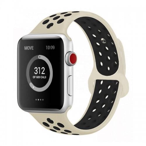 Ανταλλακτικό Λουράκι OEM Softband για Apple Watch 38/40mm (Μπεζ-Μαύρο)