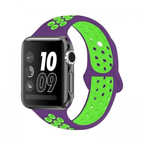 Ανταλλακτικό Λουράκι OEM Softband για Apple Watch 38/40mm (Μωβ - Πράσινο)