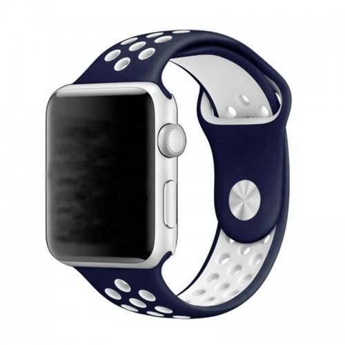 Ανταλλακτικό Λουράκι OEM Softband για Apple Watch 38/40mm (Σκούρο Μπλε-Άσπρο)